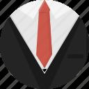 corporate, garment, male, set, shirt, suit, tie icon