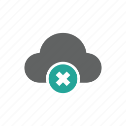 cloud, cross, delete, error, remove, warning icon