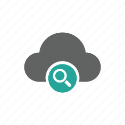 cloud, magnify glass, search icon