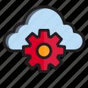 cloud, computer, data, gear icon