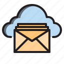 clouds, computer, interface, mail icon