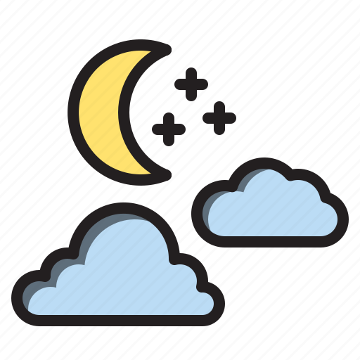 clouds, moon, star, weather icon