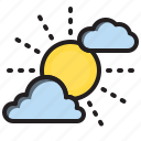 clouds, sky, sun, weather icon