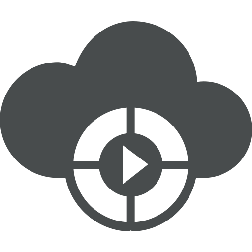 arrow, buttons, cloud, cloud computing, multimedia, play, round icon