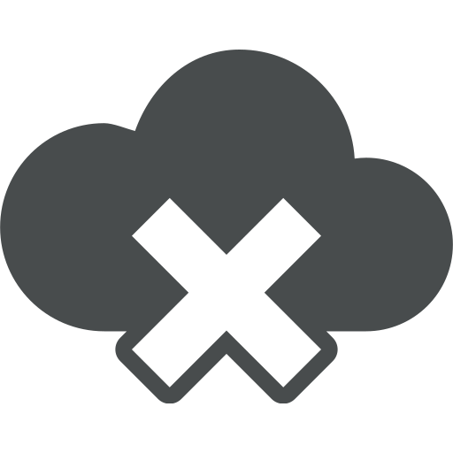 cloud, cloud computing, error, rejected, sign icon