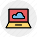 cloud computing, cloud computing concept, cloud on screen, cloud storage, cloud technology, laptop, probook