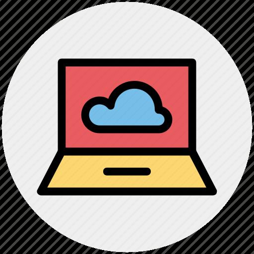 cloud computing, cloud computing concept, cloud on screen, cloud storage, cloud technology, laptop, probook icon
