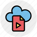 cloud, cloud page, document, media, page, paper, play icon