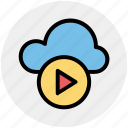 cloud, cloud computing, cloud music, multimedia, music, play, round icon