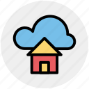 cloud and hut, cloud computing home, cloud network server, cloud server, home and dream cloud, internet cloud technology