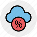 cloud, cloud computing, networking, percentage, percentage cloud icon