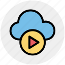 cloud, cloud computing, cloud music, multimedia, music, play, round icon icon