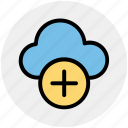 add, add-cloud, cloud, cloud computing, plus, storage icon