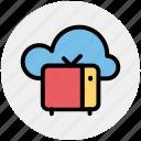 cloud broadcast, cloud broadcasting, retro tv with cloud, tv and cloud, tv with cloud icon