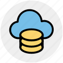cloud data, cloud system, database, mysql, server, sql, storage icon