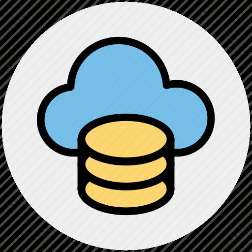 cloud data, cloud system, database, mysql, server, sql, storage icon
