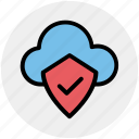 cloud and shield, safe network, safe networking, secure networking, security shield cloud icon