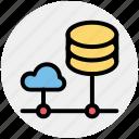 cloud computing, cloud data, cloud system, database, mysql, server, storage icon