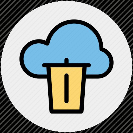 cloud and dustbin, cloud computing concept, cloud internet recycling, cloud recycle bin, cloud with dustbin icon