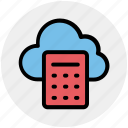 calculation, calculator, cloud, cloud calculator, cloud computing, network icon