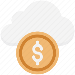 dollar in cloud, online business, online money, online work, web business icon