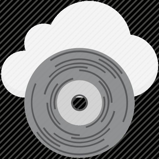 cd, cloud media, cloud multimedia, cloud network, online media icon