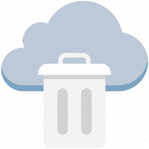 cloud trash, delete, dustbin, garbage container, recycle bin, trash, trashcan icon