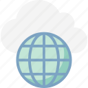 cloud computing, global network, globe, globe grid, icloud, internet, internet connection icon