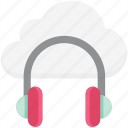 cloud music, headphone, music file, online media, online multimedia, online music icon