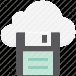 cloud storage, digital storage, diskette, floppy, multimedia, online storage, storage device icon