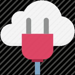 cloud computing, cloud connection, cloud hosting, cloud plugin, internet connection, power plug icon