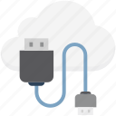 cloud computing, computing, icloud, usb, usb cable icon