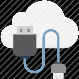 cloud computing, computing, icloud, usb, usb cable icon