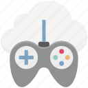 cloud computing, cloud gaming, gamepad, gaming on demand, online games icon