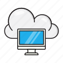 cloud, database, lcd, screen, server