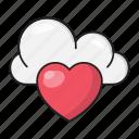 cloud, computing, favorite, heart, like