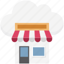 cloud computing, cloud shop, cloud store, e shop, marketplace, online shopping, shop icon
