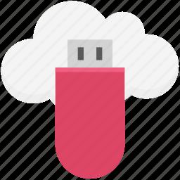 cloud computing, cloud storage, data saving, data storage, file storage, storage drive, usb icon