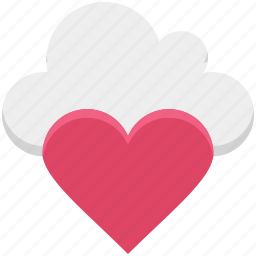 cloud, cloud computing, heart, love, online dating, online love, online romance icon