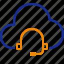 cloud, headphones, data, communications, network, support
