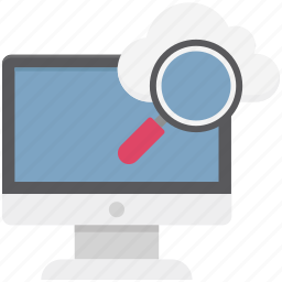 cloud magnifying, cloud search, internet exploring, magnifier, magnifying lens, online search, technology icon