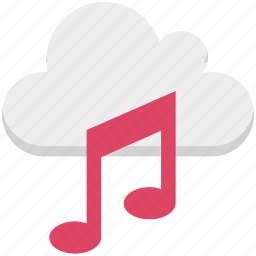 cloud music, music file, musical note, online media, online multimedia, online music icon