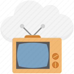 cloud computing, cloud tv, live tv, online media, online tv, retro tv, tv icon