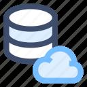 cloud database, cloud network, cloud server, hosting application, hosting server icon