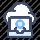 cloud application, cloud client, cloud server, hosting server icon