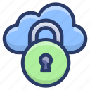 cloud data lock, cloud hosting, cloud protection, cloud safety, cloud services icon