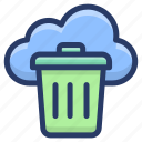 cloud bin, cloud computing, cloud hosting, cloud trash, cloud waste data icon