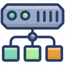 big data, data hosting, data server, data storage, datacenter network, dataserver network icon
