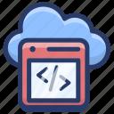 cloud computing, cloud hosting, cloud programming, cloud services, cloud technology, cloud web coding icon