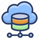 cloud computing, cloud hosting, cloud services, cloud shared database, cloud storage icon